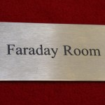 Farady Room engraved sign