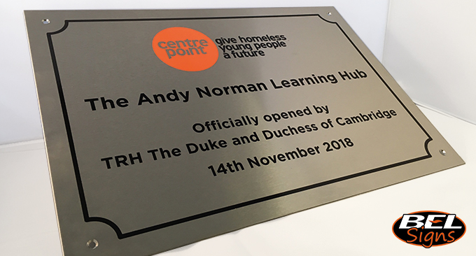 A3 exterior Stainless Steel Plaque with filled details