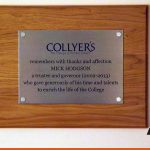 Collyer's College Plaque with wooden backing board