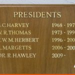 Presidents board with hand signwriting in gold