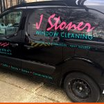 Small van graphics for local window cleaner