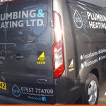 Ford Transit Custom with two colour graphics for West Sussex Plumbing & Heating | BEL Signs