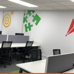 Wall Graphics in brightly coloured vinyl for an office interior