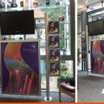 Displays with posters and digital display fo a local school