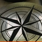 Engraved compass on Brass effect | BEL Signs