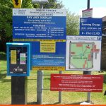 Car Parks signage wit Map and notices