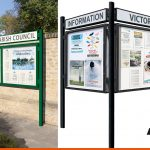 Single sided notice boards with header boards