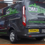 Local builder DMJ van signwriting | Building & Roofing Graphics