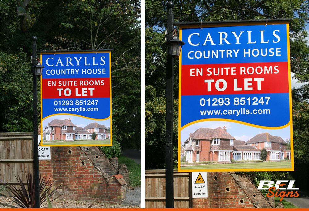 Printed hanging sign for local letting