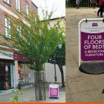 Swinger Pavement Sign for Horsham Bedding in Horsham Town Centre