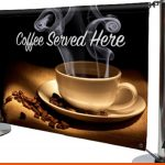 Serve your coffee alfresco with these printed banners