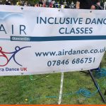 Printed events banner for local dance company