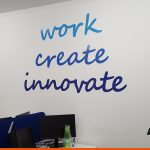 Wall decals with branding and messages