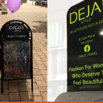 CoCo's Booster A-Board and DEJA! Ecoflex pavement signs