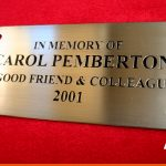Memorial brass plaque | Engraved text