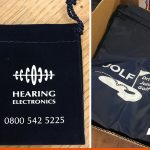 Screen printed bags for hearing aids and for a golf event