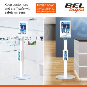 Hand Sanitiser Units for high traffic areas feature poster display