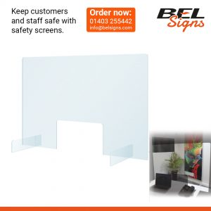 Safety Screen with or without hand gaps ideal for countertops | Coronavirus Signage