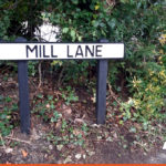 Mill Lane Road Name Plate Sign