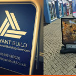 A-Board for local builders and Forecourt sign for Sussex Travel Company