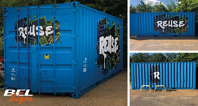 HDC Reuse Hub with graphics from BEL Signs