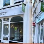 Built up lettering, fascia, window graphics and hanging sign for Green People Horsham Carfax