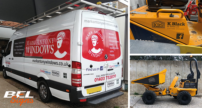 Vehicle graphics including plant machinery