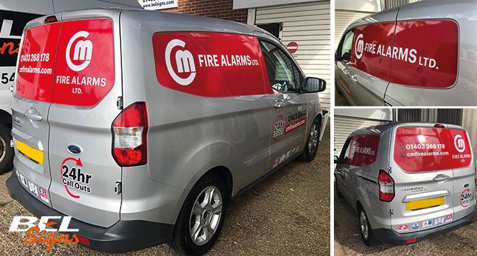 C&M Fire Alarms branded FORD transit van